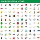 100 icônes de pollution réglées, style de bande dessinée illustration libre de droits