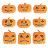 Icônes de potirons de Halloween réglées Images stock