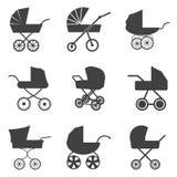 Icônes de poussette de bébé Illustration de Vecteur