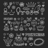 Icônes de princesse Doodle pour la fête de naissance, boutique de jouet Photos libres de droits