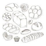 Icônes de produits de boulangerie et de pâtisserie réglées illustration libre de droits