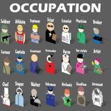 Icônes de profession d'autocollant posées empilées Images libres de droits