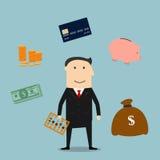 Icônes de profession et de finances de banquier illustration stock