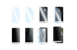 Icônes de protection de téléphone réglées, illustration 3d Photo stock