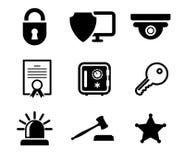Icônes de protection et sécurité réglées illustration stock