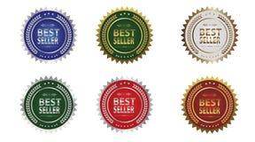 Icônes de récompense du best-seller illustration stock