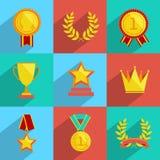 Icônes de récompense réglées colorées Photo libre de droits