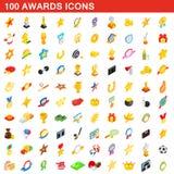 100 icônes de récompenses réglées, style 3d isométrique Image stock