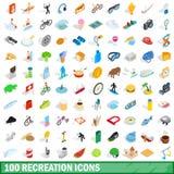 100 icônes de récréation réglées, style 3d isométrique illustration stock