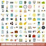 100 icônes de résolution des problèmes réglées, style plat illustration stock