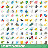 100 icônes de rétroaction réglées, style 3d isométrique Photos stock
