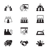 Icônes de réunion d'affaires et de conférence réglées Image stock