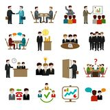 Icônes de réunion réglées Image stock