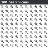 100 icônes de recherche réglées Photographie stock