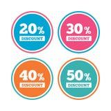 Icônes de remise de vente Signes des prix d'offre spéciale Photo stock