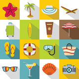 Icônes de repos d'été réglées, style plat Photos stock