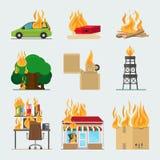 Icônes de risque d'incendie illustration de vecteur