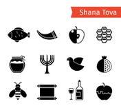 Icônes de Rosh Hashanah illustration de vecteur