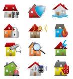 Icônes de sécurité à la maison Photographie stock libre de droits