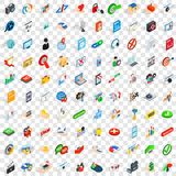 100 icônes de sécurité de cyber ont placé, le style 3d isométrique Photos libres de droits
