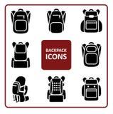 Icônes de sac à dos réglées illustration stock