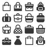 Icônes de sac réglées Photographie stock