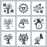 Icônes de saisons de vecteur réglées Photographie stock