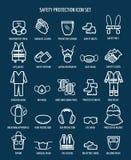 Icônes de santé et de sécurité du travail de travail Images stock