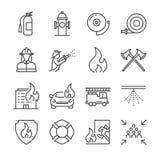Icônes de sapeur-pompier et de corps de sapeurs-pompiers illustration de vecteur