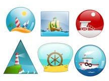 Icônes de scène de mer Image stock