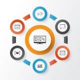 Icônes de SEO réglées Collection de bulletin d'information, questionnaire, conférence Photographie stock