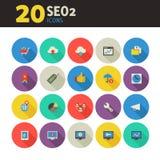 Icônes de SEO 2 sur coloré autour des boutons Photo stock