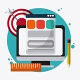 Icônes de SEO, technologie connexe, illustration illustration de vecteur