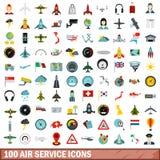 100 icônes de service aérien réglées, style plat illustration libre de droits