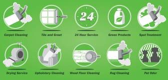 Icônes de service aux entreprises de nettoyage de tapis Image stock