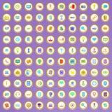 100 icônes de service d'appel réglées dans le style de bande dessinée illustration stock
