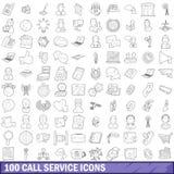 100 icônes de service d'appel réglées, style d'ensemble illustration libre de droits