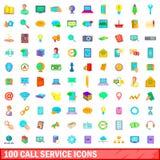 100 icônes de service d'appel réglées, style de bande dessinée illustration de vecteur