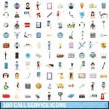 100 icônes de service d'appel réglées, style de bande dessinée illustration stock