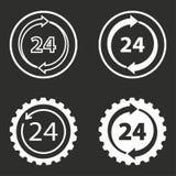 24 icônes de service d'heure réglées Images libres de droits