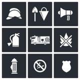 Icônes de service de corps de sapeurs-pompiers réglées Photographie stock