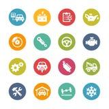 Icônes de service de voiture -- Série fraîche de couleurs Photo libre de droits