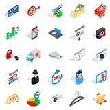 Icônes de service en ligne réglées, style isométrique Image stock
