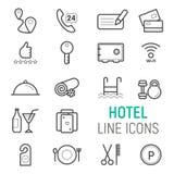 Icônes de service hôtelier réglées Photographie stock
