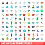 100 icônes de service militaire réglées, style de bande dessinée illustration stock