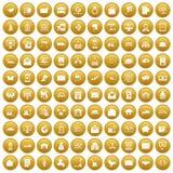 100 icônes de service postal ont placé l'or illustration libre de droits
