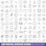 100 icônes de service postal réglées, style d'ensemble illustration libre de droits