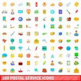 100 icônes de service postal réglées, style de bande dessinée illustration libre de droits