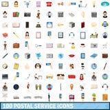 100 icônes de service postal réglées, style de bande dessinée illustration stock