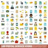 100 icônes de service postal réglées, style plat illustration de vecteur